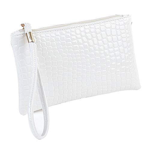 MEIbax Dame Krokodil Leder Clutch Handtasche Tasche Geldbörse Frauen Clutch Glitzer Elegant Abendtasche Handtasche (White)