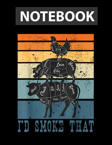 Funny Meat Eater Cow Smoker Vintage I Smoke Meats Notebook / 130 pages / US Letter Size