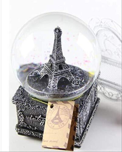 Eiffelturm-Kristallkugel-Spieluhr, Spieluhr-Schneeflocke-Europäische Retro Handwerks-Verzierungen Senden Geburtstagsgeschenke