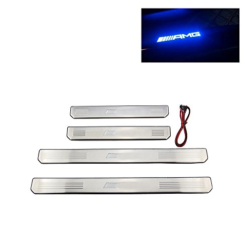LED 4PC Edelstahl Einstiegsleisten Leisten Schwellerleisten Abkantung Prägung Türschweller für C E w204 w210 w212 AMG 2000-2017year