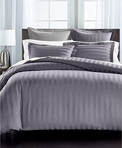 Charter Club Damask Stripe 550 Thread Count Supima Cotton 3 Piece Full / Queen Duvet Cover Set Granite