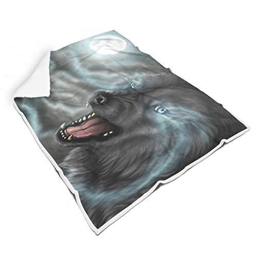 STBlanketshop Fantasy Wolf Rauch Mondnacht Tier Kunst Druck Premium Mikrofaser Decke Werfen Fantasie Schlafen Werfen Schlafzimmerdekoration Erwachsene&Kinder White 150x200cm