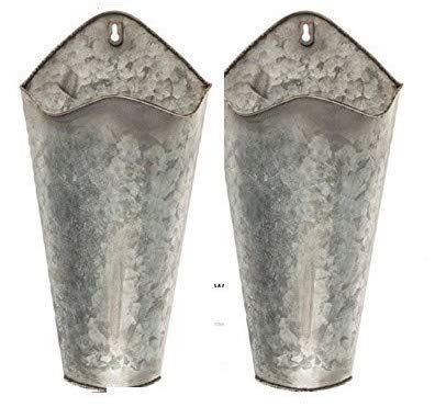 Farmhouse Style Hanging Wall Vase Planters (2) for Succulents or Herbs - Beautiful Wall Decor for Air Plants, Faux Plants, Cacti, Sunflowers Galvanized (Original Version)
