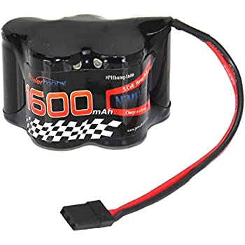Powerhobby 6V 1600mAh NiMH Receiver Hump Battery Pack Fits : 1/8 1/10 Losi T-Maxx HPI Ofna Mugen Kyosho Associated