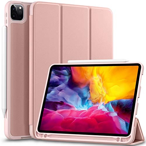 Vobafe Cover Compatibile con iPad PRO 11 2020 e 2018, Custodia Protettiva in TPU con Portapenne per iPad PRO 11 Pollici 2020, Supporto per Seconda Generazione Pencil, Protezione Completa, Oro Rosa