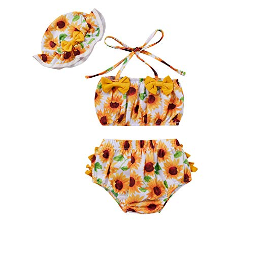 Girl Tankini Bathing Suit Baby Swimsuits 6-12 Months Girls Cute High Waisted Bikinis Sleeveless Crop Top Floral Short Pants Swimwear with Sun Protection Hat