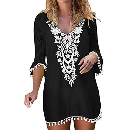 Verano Camisolas y Pareos para Mujer, Dragon868 Blusa Vestido Túnica Crochet de Playa, Traje de Baño de Ganchillo de Encaje con Borlas, Traje de Baño Bikini Cover Up, S-XXL