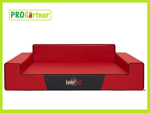 Hobbydog LGLABRA2 hondenbed/sofa/mand Glamour kunstleer, Kodura, rood, L 84 x 64 x 27 cm