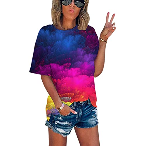 SLYZ Mujeres Europeas Y Americanas Verano Tie-Dye Impresión Digital Cuello Redondo Camiseta Suelta Verano Manga Corta Camiseta Mujer