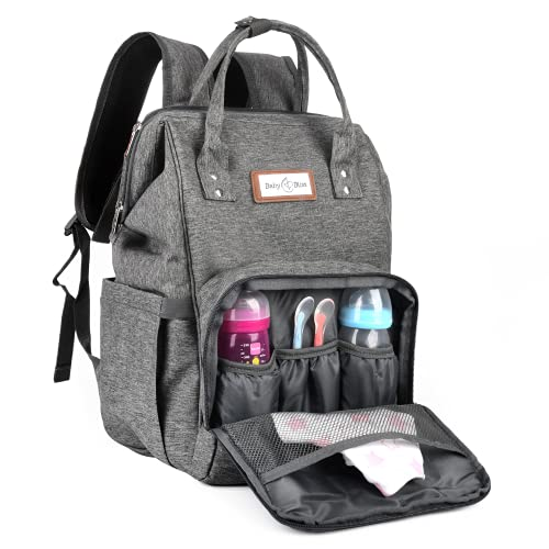 BabyBliss Diaper Backpack Bag - Waterproof & Scratch-free - Large Capacity with Insulated Bottle Pockets & USB Charging Port - with Changing Mat & Stroller Pram Hooks