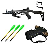 Southland Archery Supply 80 Pound Self-Cocking Pistol Crossbow (Pistol Crossbow with Adjustable Stock + 3 x Broadhead Bolts and Bag)