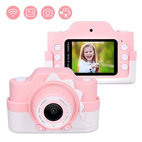 Upgrow WiFi Digitalkamera für Kinder, HD Kinderkamera mit Cartoon Schutz-Tasche, 2,0 Zoll Farbdisplay 24 Megapixel Dual Kameras, Camcorder mit Aufklebern für Mädchen Jungen (Rosa mit Schutztasche)