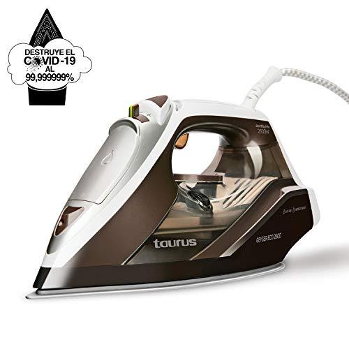 Taurus Geyser Eco 2600 – Plancha, Elimina el 99,999999% de Virus y bacterias, 160 g/min, 2600W, regulador Vapor y Temperatura, Suela Titanium, Plástico, Azul, Blanco