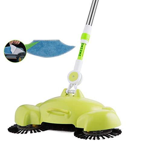 WEWE Poubelle Dustbin Green Sweeping Machine Druk op de Stofzuiger Thuis Stofzuiger Stof Pak Rollsnownow (groen: met Spanning Pant (met rag))