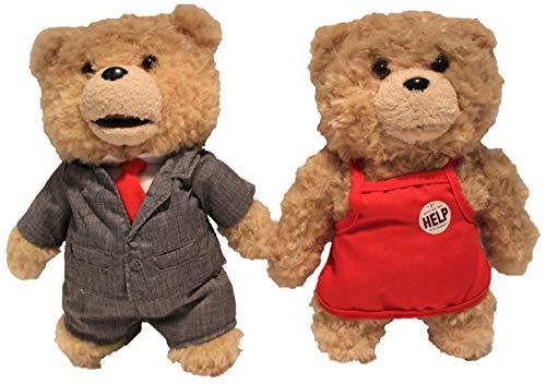 Ted Figuras de Peluche 20 cm, Juego de 2 para Adultos, Peluche de Oso de Peluche, Juguete Coleccionable para fanáticos (Delantal Rojo y Traje Gris)