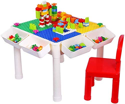 150PCS Bricks Multi-Purpose Activity Table and Chair Set for Kids Building, Drawing, Reading, Dining, Learning - Toddler Play and Study Desk