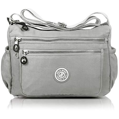 AIBILIEI Damenmode Umhängetasche Umhängetasche Handtasche Reisen Einkaufen täglichen Gebrauch (2-Grau)