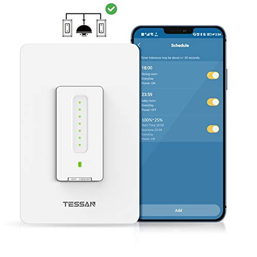 3 Way Smart Dimmer Switch, TESSAN Smart WiFi Dimmable Led Switch, Support Non-Smart 4 Way Install, Work with Alexa and Google Assitant, Gently Dimming, App Control and Timer, Neutral Wire Required