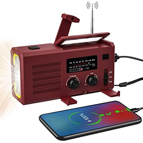 2021年最新版 多機能防災ラジオ ラジオライト 4000mAh電池対応 手回し、ソーラー、ケーブル充電 防災懐中電灯ラジオ 携帯ラジオ 緊急ラジオ AM/FM対応携帯式ラジオ 非常用ライト スマホ充電 対応可能 防災グッズ 日本語説明書付き (ワインレッ