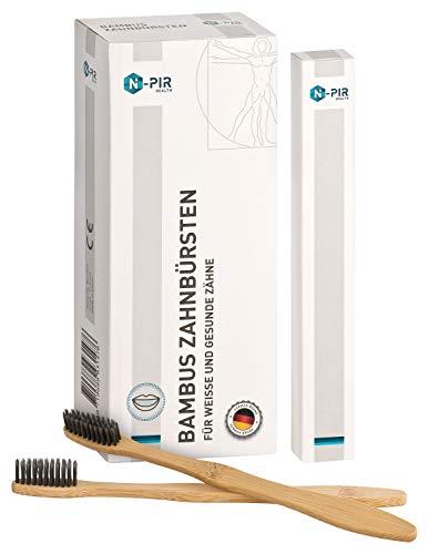 N-PIR PREMIUM Bambus Zahnbürsten I verbessertes KONZEPT 2020 als 10-er SET I vegan bio nachhaltig OHNE PLASTIK 2.0 I Holzzahnbürste mit Naturborsten für Damen Herren und Kinder