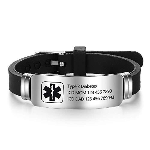 Personalized Adjustable Medical Bracelets Sport Emergency ID Bracelets Free Engraving 9 Inches Silicone Waterproof ID Alert Bracelets for Men Women Kids (Black-2)