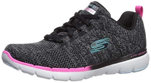 Skechers Flex Appeal 3.0-Reinfall, Zapatillas Mujer, Negro (BKMT Black Mesh/Multi Trim), 40 EU