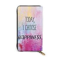 ABNII 財布 長財布 Quote Today I Choose Happiness メンズ レディース 牛革 人気 ラウンドファスナー 小銭入れ 多機能 大容量 バッグ