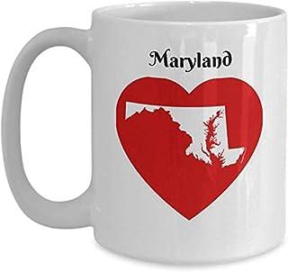 Cadeau de tasse de café du Maryland - coeur MD State contour carte Mug souvenir