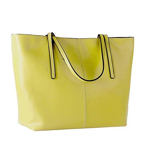 Borse a mano da donna, borsa a tracolla Borsa a tracolla Borsa a tracolla in pelle di vacchetta grande borsa da donna shopping bag borsa da viaggio Giallo M