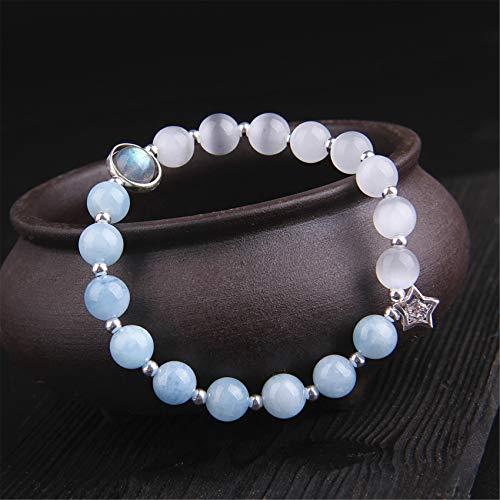 Toltec Lighting Feng Shui Bracelet Natural Aquamarine White Cat's Eye Crystal Bangle Good Luck Peach Blossom Wealthy Love Amulet Bracelet for Women