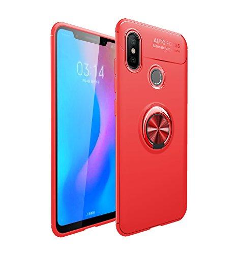 Yobby Weiches Silikon Hülle für Xiaomi Redmi S2, Xiaomi Redmi S2 Ultra Dünn Handyhülle mit 360 Grad Drehbar Ringhalter Ständer Magnetisch Autohalterung Stoßfest Kratzfest Schutzhülle-Rot