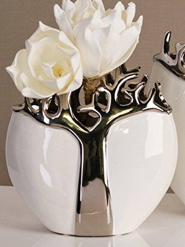 Designer Vase Tree aus Keramik weiß/silber mit silbernem Baumdesign Höhe 21 cm