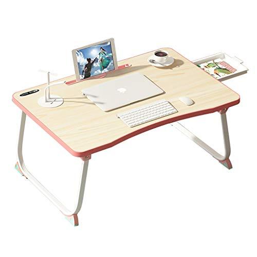 Opvouwbaar Bed Laptop Bureau Met Kleine Lade/USB Oplaadinterface En Verlichting/USB Kleine Ventilator, Multifunctioneel Eenvoudig Kinder Studiebureau (Color : Pink)