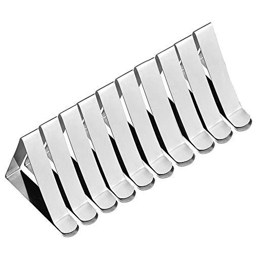 SOOJET Tovaglia Clip, Fermatovaglia Clip in Acciaio Inossidabile Clip per Tovaglia Copritavoli Regolabile Fermatovaglia Fissaggio Morsetti Tovaglia Fermagli per tovaglia - Argento (10)