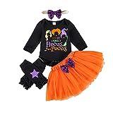 WangsCanis Conjunto de ropa para bebé de Halloween, para niñas, conjunto de ropa para bebé, calabaza, ropa para Halloween, body + falda + cinta para la cabeza + leggings, Negro C, 70 cm