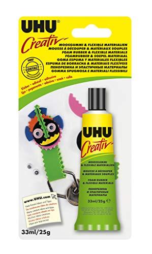 UHU 47195 Spezialkleber, Creativ, Moosgummi, flexible Materialien Tube, 33 ml