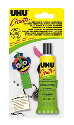 UHU 47195 Spezialkleber, Creativ, Moosgummi, flexible Materialien Tube, 33 ml