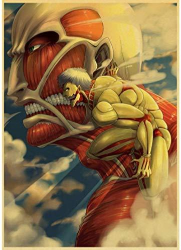 HANJIANGXUE Carteles De Lona De Algodón Janpnese Anime Attack On Titan Carteles Retro Papel De Pared Pintura Decoración Pegatinas De Pared 50 * 70 Cm Durabilidad Fuerte