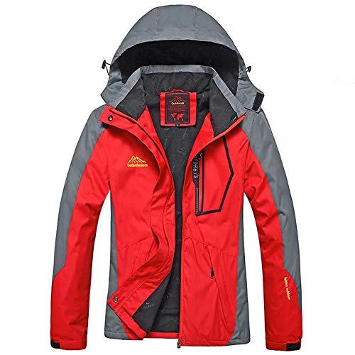95 Herren Winter Warm Jacke Atmungsaktiv Outdoor Skijacke Warm Gefüttert Winterjacke mit Abnehmbarer Kapuze Funktionsjacke Outdoor Snowboardjacke Wasserdicht Outdoorjacke (Rot, M)
