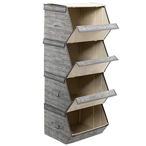 GOPLUS 4-Pack Aufbewahrungsboxen, Aufbewahrungskorb Setmit Deckel und Handgriffen, Sortierbox Stapelbar, Aufbewahrungskiste Faltbox für Regal Kleiderschrank, Organizer Ordnungssystem Multifunktional