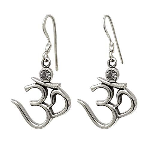 TreasureBay Beautiful 925 Sterling Silver Dangle Drop OM Aum Ohm Earrings, Yoga Earrings, Ohm Earrings for Women