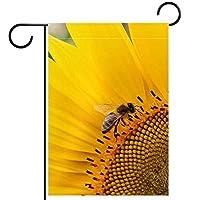 ガーデンヤードフラッグ両面 /12x18in/ ポリエステルウェルカムハウス旗バナー,蜂と花