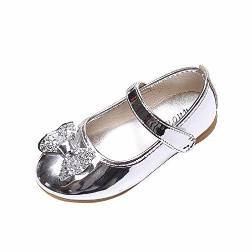 K-youth Zapatos de Baile Niña Bowknot Zapatos Bebe Niña Bautizo Primeros Pasos Zapatos de Princesa Chicas Sandalias de Vestir Niña Zapatos Niña Fiesta Cumpleaños(28 EU, Plateado)