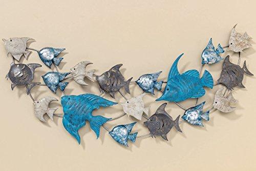 S&D Wandbild Wandobjekt Fisch-Schwarm aus Metall