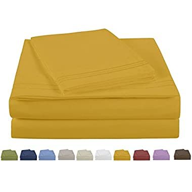 Lilly & Skye S1050T Microfiber Embroidered Hem Sheet Set,King, Spicy Mustard