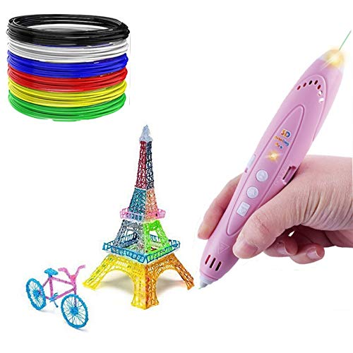 3D Pen for Kids Aged 6+, 3D Printing Pen for 3D Thinking Training, Wireless 3D Pen with 2 Feeding Speeds, Built-in Rechargeable Battery, 1.75cm PCL Filament (Pink)