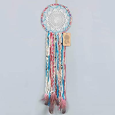 Dremisland Dream Catcher Handmade Traditional White Lace Wall Hanging Car Hanging Home Decoration Ornament Decor Ornament Craft Gift (Colorful)