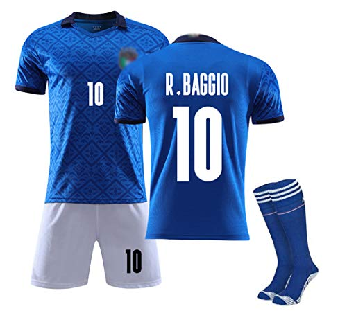 Baggio 10 Balotelli 9 Pirlo 21 Chiellini 3 Immobile 11 Bonucci 19 Fußballtrikots für Kinder Jungen Jugend Erwachsene Männer, Euro 2020 Italien Team Home Custom Team Uniformen-Baggio 10-16