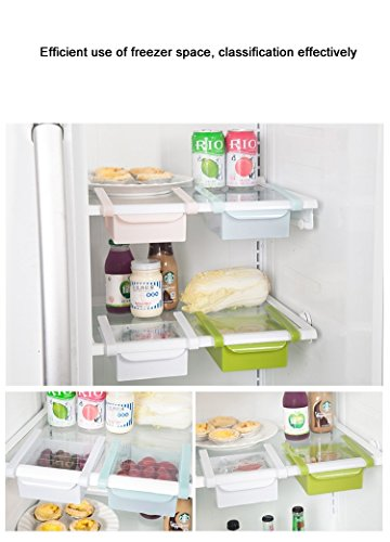 4 Pcs/lot Plastic Kitchen Refrigerator Storage Rack Fridge Freezer Shelf Holder Pull-out Drawer Organiser Space Saver /White