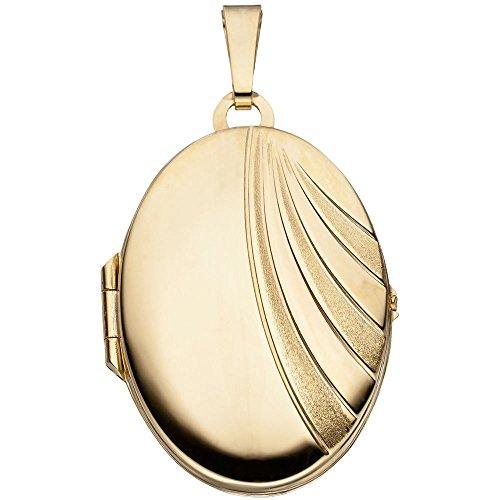 Medaillon Anhänger aus 333 Gold Gelbgold teilmattiert Amulett Damen